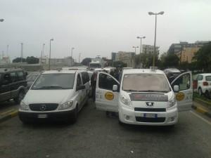I taxi al bordo dei quali hanno trovato posto i supporters calabresi