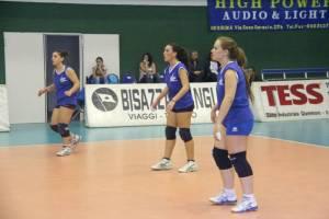Le atlete del Mondo Giovane impegnate in fase di ricezione