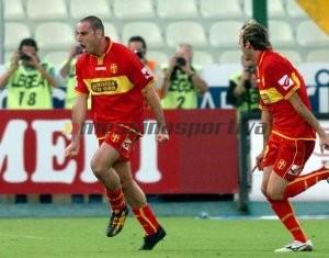 Zampagna festeggia dopo un gol con la maglia del Messina