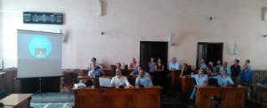 Il giorno della presentazione del Bar Basket Trust nell'aula consiliare del Comune