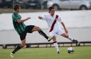 Daniele Magliocchetti in azione con la maglia della Reggiana, con cui ha trovato maggiore continuità in carriera