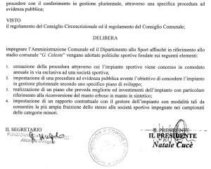 La delibera con cui la terza circoscrizione ha approvato la proposta del consigliere Santi Interdonato