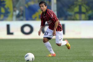 Roberto Merino, qui in azione contro il Modena, realizzò 7 reti in B con la Nocerina