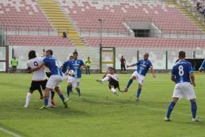 Una fase della sfida tra Messina e Matera finita 0-5