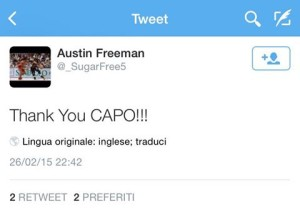 Il twitte con cui Freeman ha salutato i tifosi di Capo d'Orlando