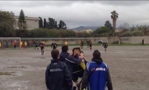 Sampietrese-Contesse 0-1 L'Esultanza dopo il gol di Pandolfino