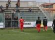 I calciatori del Messina sotto il settore occupato dai tifosi a Lamezia