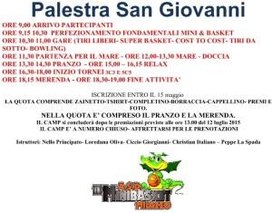 Il programma del Day Camp Minibasket in programma a Milazzo