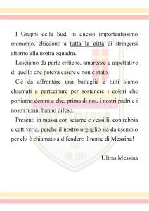 Il volantino degli Ultras Messina