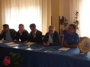 Un momento della conferenza stampa d'Alcontres