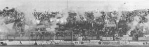 """La curva """"giallorossa"""" dello stadio Adriatico in occasione dello spareggio con il Monza"""