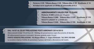 I prezzi della campagna abbonamento dell'Orlandina