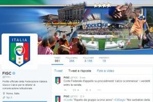 Il tweet visibile sull'account ufficiale della Figc