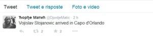Il twitter che conferma l'approdo di Stojanovic a Capo d'Orlando