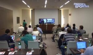 La sala stampa dalla quale i giornalisti hanno seguito la due giorni processuale