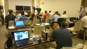 La sala stampa dalla quale i giornalisti seguono le varie fasi del processo sul calcioscommesse