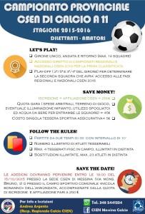 La Locandina del Campionato di Calcio a 11 organizzato dallo CSEN Messina