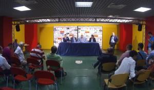 Un momento della conferenza stampa di presentazione di Argurio e Manfredi, affiancati da Stracuzzi e Gugliotta