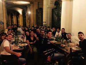 La squadra ha celebrato il successo con il Cosenza nel locale gestito da Mimmo Cecere