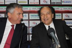 Il direttore sportivo del Cosenza Mauro Meluso ed il presidente Eugenio Guarascio