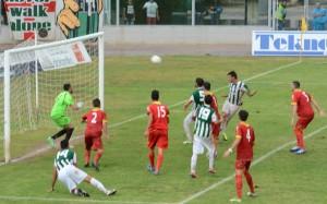 Il gol del vantaggio siglato dallex Antonio Croce