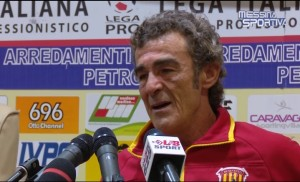 Il tecnico del Benevento Gaetano Auteri in sala stampa