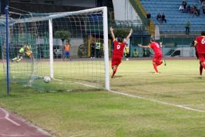 L'esultanza di Tavares per il suo secondo gol in giallorosso (foto Salvatore Izzo)