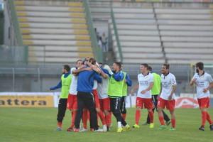 L'esultanza dei giocatori del Messina