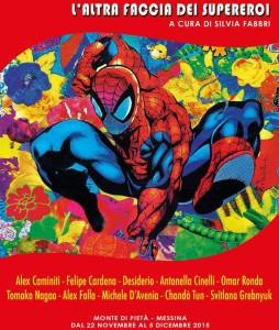 """La locandina della mostra """"L'altra faccia dei supereroi"""", sulla quale campeggia un inedito Spiderman"""
