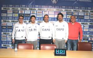 Il ds Sindoni, Jorge Silva, coach Di Carlo, Sussi e il patron Sindoni