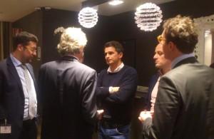 Di Napoli a colloquio con Duca, Grassani, Menichini, Villari e Fazio nella hall dell'NH Vittorio Veneto