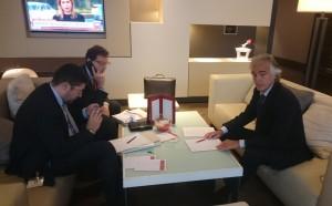 Il legale bolognese Mattia Grassani insieme ai suoi collaboratori Fabrizio Duca e Federico Menichini