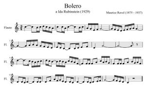 Lo spartito del Bolero di M. Ravel