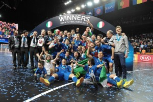 L'Italia vincitrice agli Europei di calcio a 5 del 2014