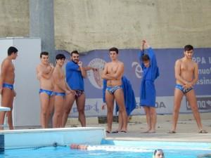 Il riscaldamento della Polisportiva Messina