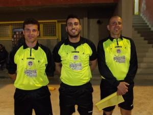 L'arbitro D'Amico (in mezzo) e gli assistenti Bosio e Priolo