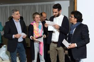 Un momento della festa promozione, coach Baldaro, Patrizia Samiani e il preparatore atletico Vincenzo La Torre