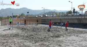 Una fase della seconda tappa del campionato di footvolley csen