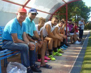 La panchina del FC Milazzo nella gara amichevole contro il Torregrotta