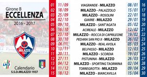 Il calendario del Milazzo in versione compatta
