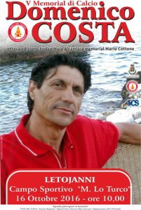 """Locandina """"5° Memorial Domenico Costa"""" e """"8° Trofeo Mojo Alcantara – Memorial Mario Cottone"""""""