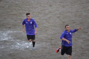 L'esultanza di Beniamino Aloisi dopo 1-0