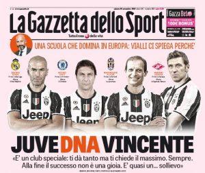 """Juve DNA Vincente: la prima pagina della """"Gazzetta"""" celebra le leaderhip di Zidan, Conte, Allegri e Carrera"""