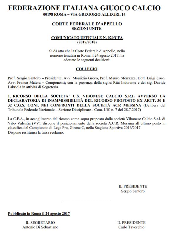Serie C, riammessa la Vibonese, non c'è più il turno di riposo