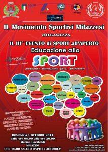 La locandina dell'evento promosso da Movimento Sportivi Milazzesi