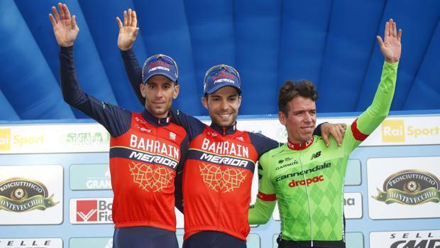 Visconti e Nibali sul podio del Giro dell'Emilia