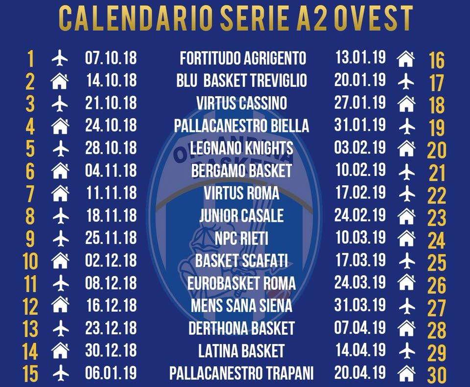 Serie A2 Basket Calendario.L Orlandina Esordira Il 7 Ottobre Ad Agrigento Chiusura Il