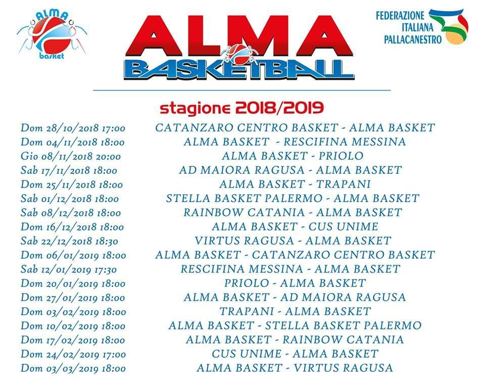 Calendario Serie B Femminile.Calendario Alma Patti
