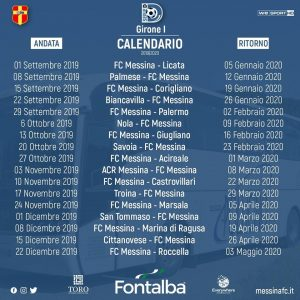 Calendario Febbraio Marzo 2020.Il Calendario Integrale Del Fc Messina
